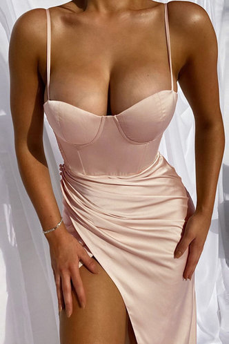 front_Bblythe Edwina Sexy Plain  Pink Dress