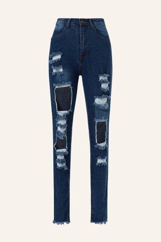 back_Lois Emma Wash Dark Blue Ripped Jeans