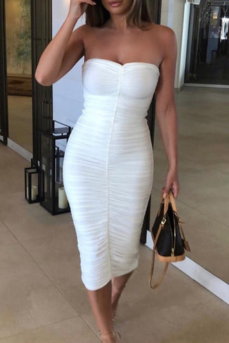 back_Cassidy Elaine White Ruched Dress