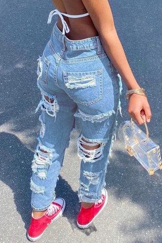 back_High Waist Straight Leg Wash Blue Women Jeans
