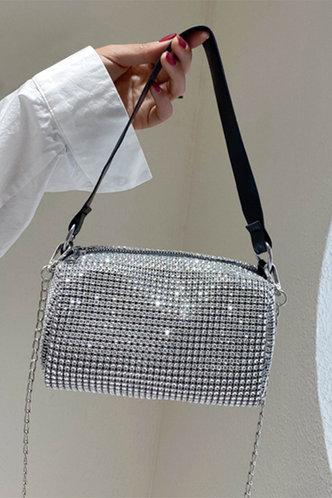 front_Metallic Zipper Up Silver Shoulder Bags