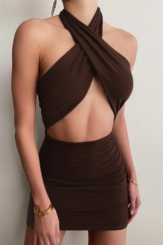 front_Bab Elsie Brown Halter Cutout Ruched Dress