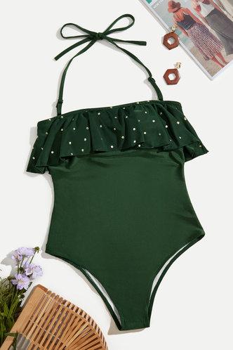back_Wallis Eden Dark Green One-Piece Swimsuit