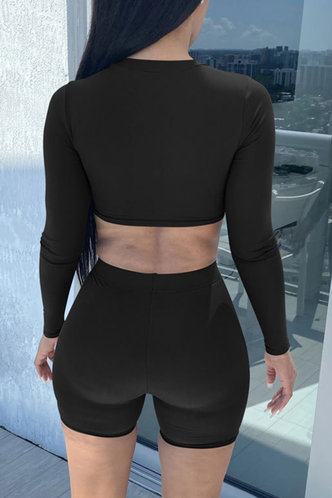 back_Elastic Band Black Shorts Sets