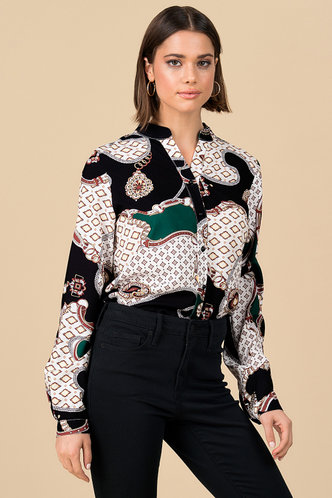 front_Lovely Links Multicolor Geometric Button Front Top