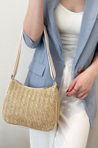 back_Solid Color Zipper Up Beige Shoulder Bags