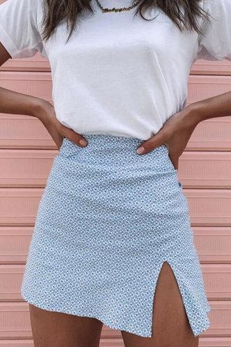 front_Lisbeth Elsie Blue Floral Print Split Hem Skirt
