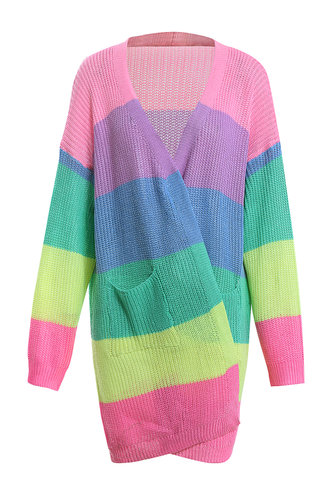 front_Swervin' On Em Multicolor Stripe Cardigan