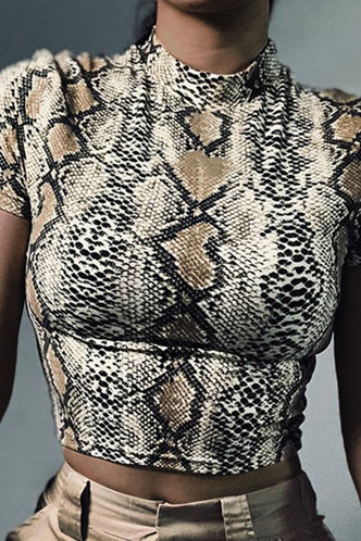 front_Betty Elsie Brown Snakeskin Print Tee