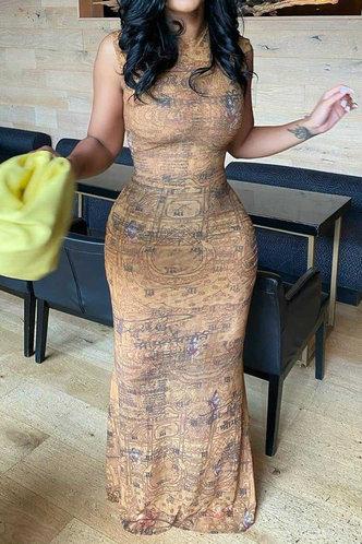front_Fay Jagu Brown Bodycon Dress