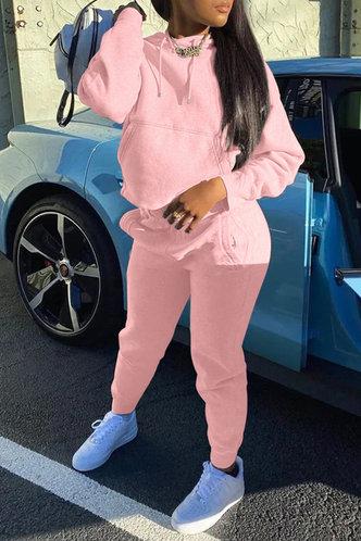 front_Pocket Pullover Pink Sweatshirt Sets