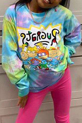 back_Street Crew Neck Tie Dye Graphic Tie Dye Sweatshirts & Hoodies