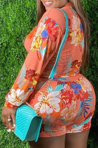 back_Laurinda Eudora Orange Floral Print Plus Size Shorts Set
