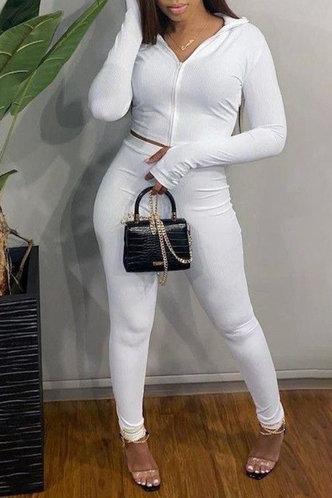 back_Plain Zipper  White Pants Sets