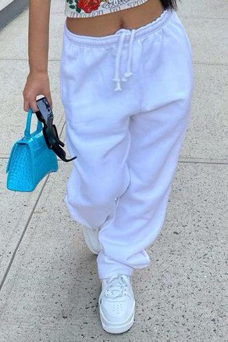 front_Mid Waist   White Plus Size Sweatpants