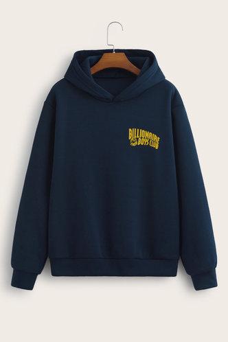 back_Sporty Hooded Collar Letter Navy Blue Sweatshirts & Hoodies