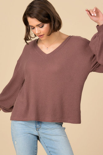 front_All For You Red Rib Knit Top