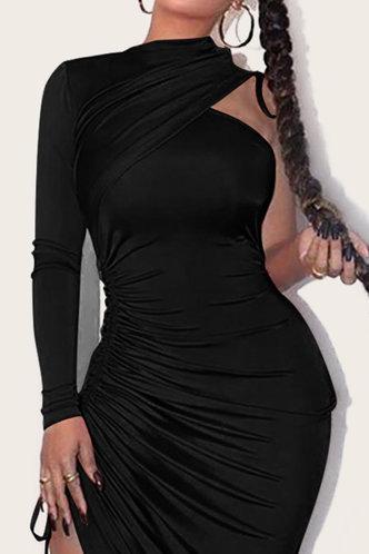 back_Dorothea Ethel Black Drawstring Bodycon Dress