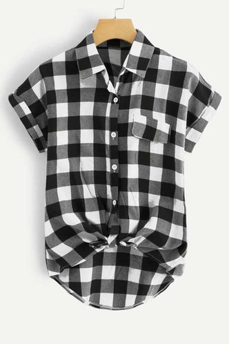 front_Kelley Emily Black And White Plaid Blouse
