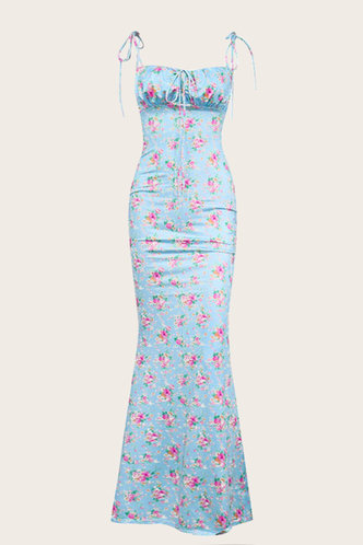 back_Dorothea Eartha Blue And Pink Floral Print Tie Front Dress