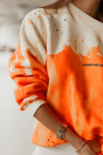back_Casual Sporty Round Neck Tie Dye  Orange Tie Dye Sweatshirts & Hoodies
