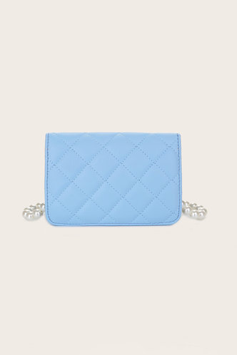 back_Casual Vacation Geometric Plain Button Baby Blue Crossbody Bags