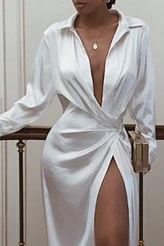 back_Emily Esther White Plunging Neck Dress