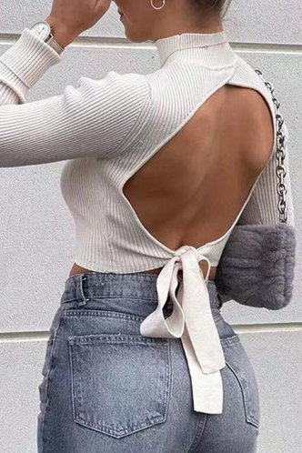 front_Susan Eve White Open Back Sweater