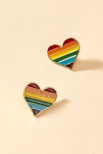 front_Gloria Land Multicolor Heart Design Brooch 2pcs