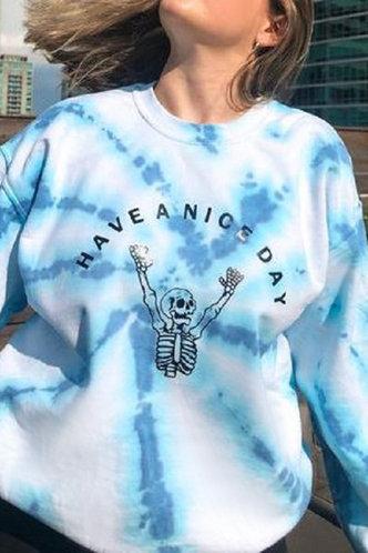 front_Camilla Elaine Blue And White Sweatshirt