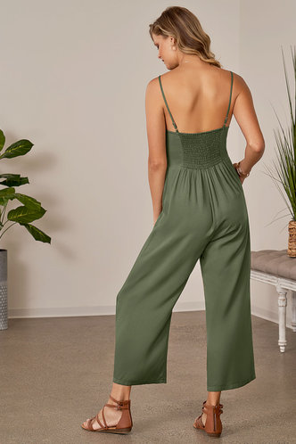 back_Like the Dream of It Army Green Jumpsuit