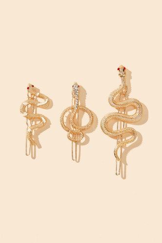 front_Vera Elsa Gold Snake Design Hair Clip 3pcs