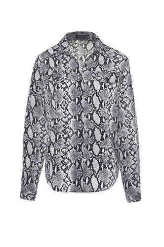 front_All Rattled Up Snake Print Curved Hem Blouse