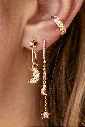 front_Janey Elsie Gold Star & Moon Charm Earring 3pcs