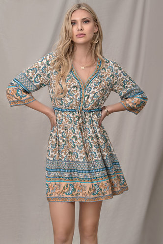 front_Evening Sunset Cream Floral Print Mini Dress