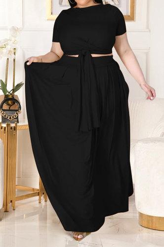 back_Davina Eunice Black Plus Size Skirt Set