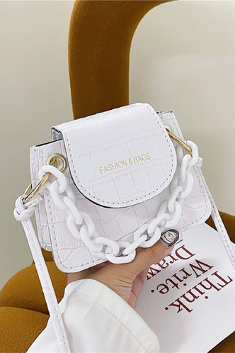 front_Casual Vacation Letter Print Metallic White Satchels