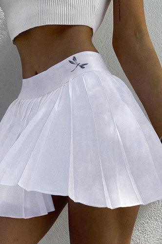 front_Lois Eileen White Pleated Skirt