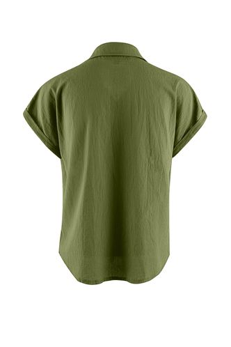 back_Meadowlake Army Green Short Sleeve Top