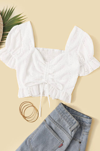 front_Clementina White Crop Top