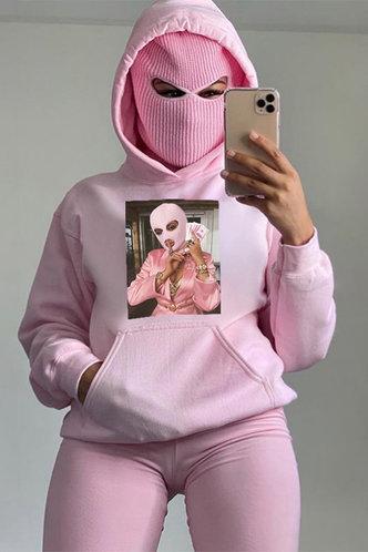 front_Tess Ethel Pink Drawstring Pocket Hoodie