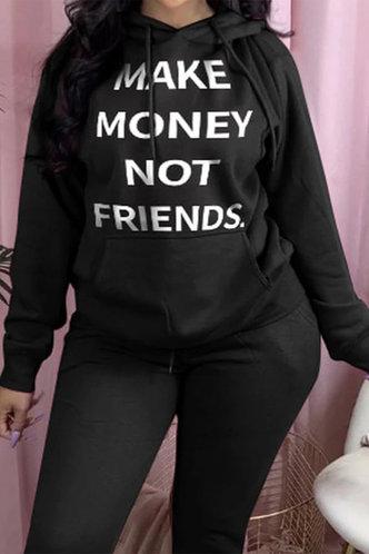 front_Casual  Letter Print  Black Sweatshirts & Hoodies