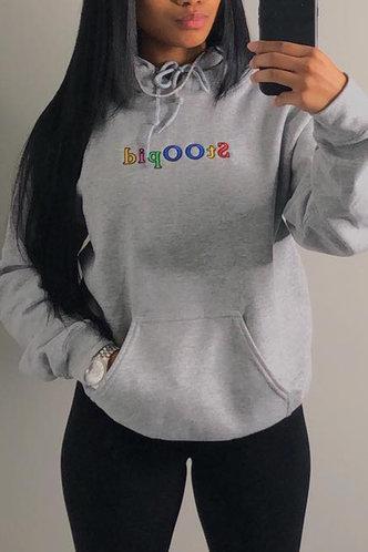 back_Casual Hoodie Letter  Light Grey Sweatshirts & Hoodies