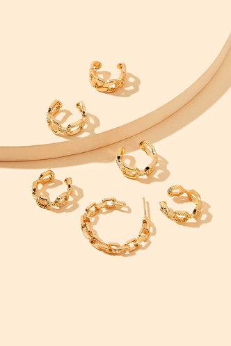 back_Janey Elizabeth Gold Hoop Chain Earring 6pcs