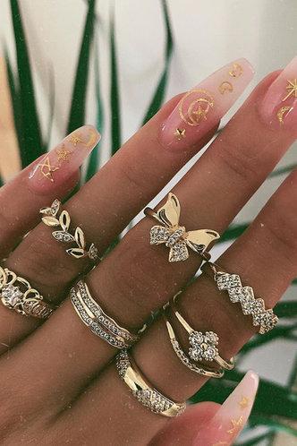 front_Ena Elma Gold Rhinestone Charm Ring 7pcs