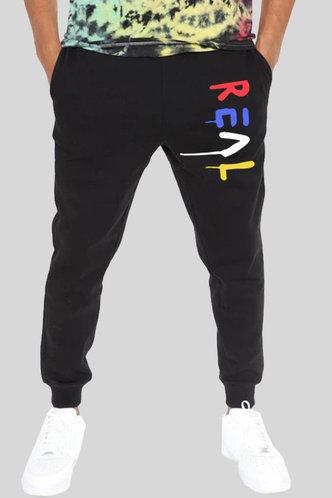 front_Letter Print Black Men Sweatpants
