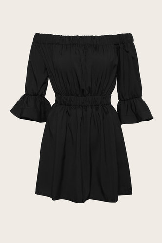 back_Helena Edith Black Flounce Hem Dress