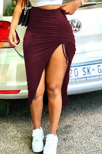 front_Mid Waist Plain Shirred Red Wine Skirts