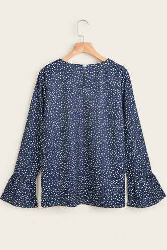 back_Talented Navy Blue Dots Print Blouse