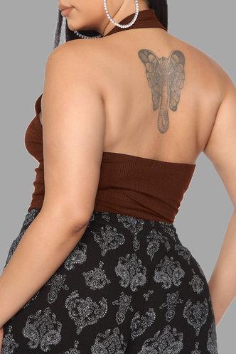 back_Trudy Eleanore Brown Plus Halter Top